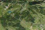 Pic Chaussy, , vue en perspecteive du chemin, by Google Earth {JPEG}